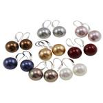 Südsee Muschel Ohrring, Messing Haken, rund, gemischte Farben, 14x34mm, 5PaarePärchen/Tasche, verkauft von Tasche