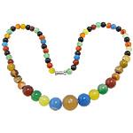 Achat Halskette, gemischter Achat, Zinklegierung Schraubschließe, rund, 6-14mm, verkauft per 17 ZollInch Strang