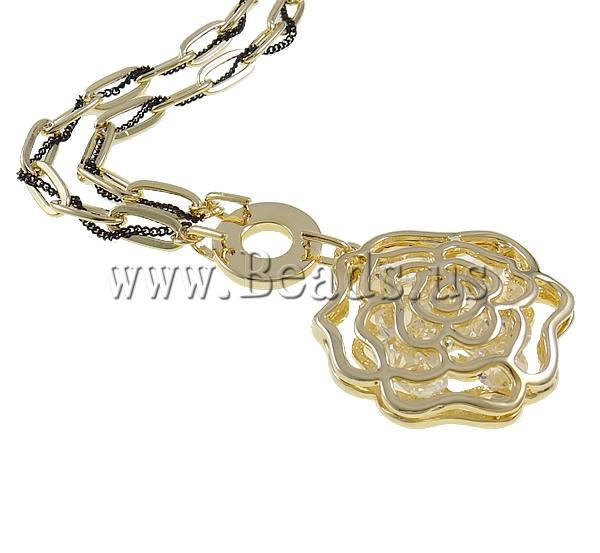 Buy Zinc Alloy Jewelry Necklace Nylon Cord & Crystal & Iron zinc alloy lobster clasp Flower gold color plated hollow nickel lead & cadmium free 36x38x10mm Sold Per Approx 32.5 Inch Strand