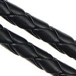 Lederband, PU Leder, gewebt, schwarz, 5mm, Länge:100 m, verkauft von Menge
