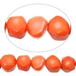 Natürliche Korallen Perlen, Klumpen, rote Orange, 9-13x10-12x9-12mm, Bohrung:ca. 1mm, Länge:ca. 17 ZollInch, 10SträngeStrang/Menge, verkauft von Menge