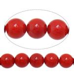 Natürliche Korallen Perlen, rund, rot, 8mm, Bohrung:ca. 1mm, Länge:ca. 15.7 ZollInch, 10SträngeStrang/Menge, ca. 50PCs/Strang, verkauft von Menge