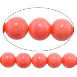 Natürliche Korallen Perlen, rund, Fuchsia, 8mm, Bohrung:ca. 1mm, Länge:ca. 16 ZollInch, 10SträngeStrang/Menge, ca. 51PCs/Strang, verkauft von Menge