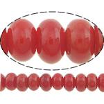Natürliche Korallen Perlen, Rondell, rot, 6x3mm, Bohrung:ca. 0.5mm, Länge:ca. 16 ZollInch, 10SträngeStrang/Menge, ca. 143PCs/Strang, verkauft von Menge