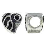 Zinklegierung Perlen Einstellung, Herz, antik silberfarben plattiert, großes Loch, frei von Nickel, Blei & Kadmium, 9x9x8.50mm, Bohrung:ca. 5mm, 10PCs/Tasche, verkauft von Tasche