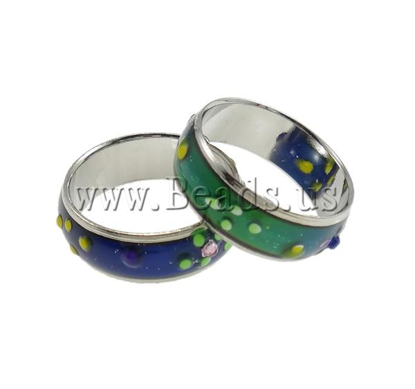 Buy Mood Finger Ring Brass platinum color plated change color according temperature & rhinestone & mixed nickel lead & cadmium free 6mm Inner Diameter:Approx 17mm US Ring Size:6.5 100PCs/Bag Sold Bag