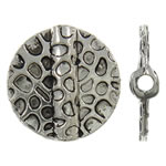 Zinklegierung flache Perlen, flache Runde, antik silberfarben plattiert, frei von Nickel, Blei & Kadmium, 19x4mm, Bohrung:ca. 2mm, ca. 310PCs/kg, verkauft von kg