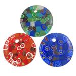 Millefiori Scheibe Glas Anhänger, Lampwork, flache Runde, handgemacht, mit Millefiori Scheibe, gemischte Farben, 45x7mm, Bohrung:ca. 4.5mm, 50PCs/Tasche, verkauft von Tasche