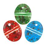 Millefiori Scheibe Glas Anhänger, Lampwork, flachoval, handgemacht, mit Millefiori Scheibe, gemischte Farben, 39x50x8mm, Bohrung:ca. 3mm, 50PCs/Tasche, verkauft von Tasche