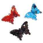Millefiori Scheibe Glas Anhänger, Lampwork, Schmetterling, handgemacht, mit Millefiori Scheibe, gemischte Farben, 61x40x11mm, Bohrung:ca. 4mm, 12PCs/Box, verkauft von Box