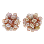 Ball Cluster Zuchtperlen, Natürliche kultivierte Süßwasserperlen, Blume, natürlich, violett, 15mm, verkauft von PC