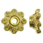 Zinklegierung Perlenkappe, Blume, 14 K vergoldet, frei von Nickel, Blei & Kadmium, 7x3mm, Bohrung:ca. 2mm, ca. 6250PCs/kg, verkauft von kg