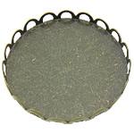 Messing Cabochon Einstellungen, flache Runde, antike Bronzefarbe plattiert, flache Rückseite, frei von Blei & Kadmium, 26x26x3mm, Innendurchmesser:ca. 25mm, 400PCs/Menge, verkauft von Menge