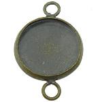 Messing Schmuckverbinder Einstellung, flache Runde, antike Bronzefarbe plattiert, 1/1-Schleife, frei von Blei & Kadmium, 14x22mm, Bohrung:ca. 3mm, Innendurchmesser:ca. 12mm, 300PCs/Menge, verkauft von Menge