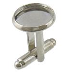 Messing Manschettenknöpfe Zubehör, Platinfarbe platiniert, frei von Nickel, Blei & Kadmium, 14x14xmm, 18x17mm, 4mm, Innendurchmesser:ca. 12mm, 100PCs/Menge, verkauft von Menge