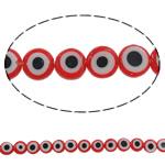 Böser Blick Lampwork Perlen, flache Runde, handgemacht, 8x3mm, Bohrung:ca. 1mm, Länge:ca. 14.5 ZollInch, 10SträngeStrang/Menge, verkauft von Menge