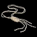Natürliche Süßwasserperlen Halskette, Natürliche kultivierte Süßwasserperlen, 2 strängig, weiß, 6-9mm, verkauft per ca. 55 ZollInch Strang