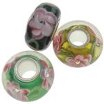 MischEuropa-Korne, Lampwork, Rondell, handgemacht, einadriges Kabel Messing ohne troll, gemischte Farben, 13x7-14x8mm, Bohrung:ca. 4.5mm, 10PCs/Tasche, verkauft von Tasche