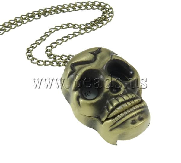 Fashion Watch Necklace Zinc Alloy Glass iron lobster clasp Skull antique bronze color plated twist oval chain & brushed nickel lead & cadmium free 25.50x33x14mm Sold Per Approx 31 Inch Strand