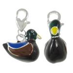Zinklegierung Karabinerverschluss Charm, Ente, silberfarben plattiert, Emaille, schwarz, frei von Nickel, Blei & Kadmium, 18x26.50x8.50mm, Bohrung:ca. 3.5x5mm, 10PCs/Tasche, verkauft von Tasche
