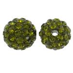 Strass Ton befestigte Perlen, rund, mit Strass, olivgrün, 10mm, Bohrung:ca. 1.5mm, 50PCs/Tasche, verkauft von Tasche