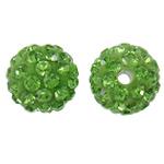 Strass Ton befestigte Perlen, rund, mit Strass, hellgrün, 10mm, Bohrung:ca. 2mm, 50PCs/Tasche, verkauft von Tasche