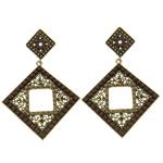 Zinklegierung Ohrringe, Messing Stecker, Rhombus, antike Goldfarbe plattiert, mit Harz Strass, frei von Nickel, Blei & Kadmium, 49x73x4mm, verkauft von Paar