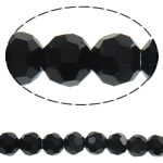 Klasse AA Kristallperlen, Kristall, rund, facettierte, Jet schwarz, 4mm, Bohrung:ca. 1mm, Länge:ca. 14.3 ZollInch, 10/