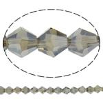 Klasse AA Kristallperlen, Kristall, Doppelkegel, AB Farben platiniert, facettierte & AA grade crystal, hellgrau, 6x6mm, Bohrung:ca. 1mm, Länge:ca. 11.8 ZollInch, 10SträngeStrang/Tasche, verkauft von Tasche