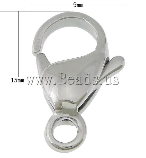 Buy Stainless Steel Lobster Claw Clasp 316L Stainless Steel original color 9x15x4.50mm Hole:Approx 2.5mm 20 Sold Lot