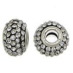European Harz Perlen, Rondell, Platinfarbe platiniert, Messing-Dual-Core ohne troll & mit Strass, 9x15mm, Bohrung:ca. 5mm, 50PCs/Menge, verkauft von Menge