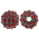 Strass Zinklegierung Perlen, rund, metallschwarz plattiert, mit Strass, frei von Nickel, Blei & Kadmium, 12mm, Bohrung:ca. 3mm, 10PCs/Tasche, verkauft von Tasche