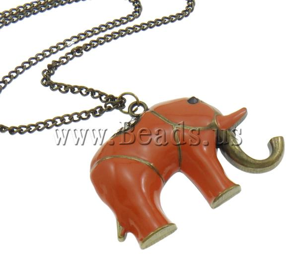 Buy Zinc Alloy Jewelry Necklace Iron zinc alloy lobster clasp 8cm extender chain Elephant antique bronze color plated enamel & rhinestone nickel lead & cadmium free 63x49x8mm Sold Per Approx 21 Inch Strand