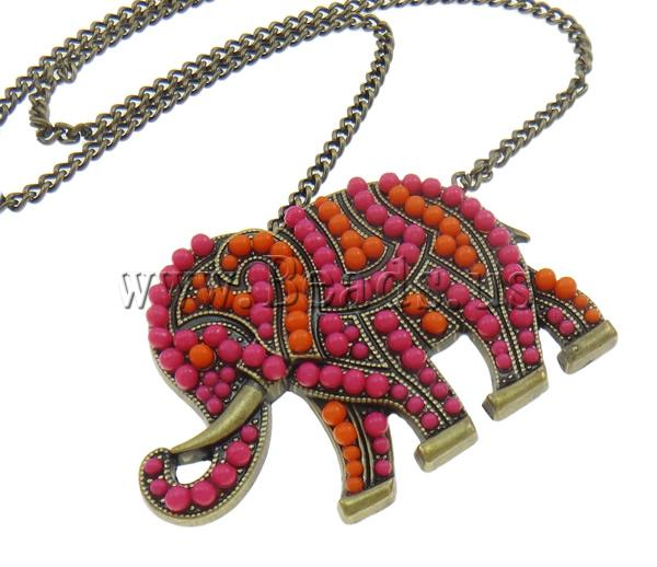 Buy Zinc Alloy Jewelry Necklace Resin & Iron zinc alloy lobster clasp 7cm extender chain Elephant antique bronze color plated nickel lead & cadmium free 63x45x6mm Sold Per Approx 23.5 Inch Strand