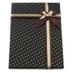 Karton Schmuckset Kasten, Papier, Fingerring & Ohrring, mit Satinband & Baumwollsamt, Rechteck, mit Muster von runden Punkten, schwarz, 120x160x27mm, 24PCs/Menge, verkauft von Menge