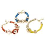Lederband Armband, Leder, mit Verkupferter Kunststoff, mit Verlängerungskettchen von 3.5cm, gemischte Farben, frei von Nickel, Blei & Kadmium, 12-34mm, Länge:ca. 7.5 ZollInch, 12SträngeStrang/Tasche, verkauft von Tasche