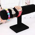Baumwollsamt Armbandständer, PVC Kunststoff, mit Baumwollsamt, schwarz, 230x140x50mm, 10PCs/Menge, verkauft von Menge