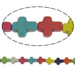 Türkis Perlen, Synthetische Türkis, Kreuz, gemischte Farben, 8x10x3.50mm, Bohrung:ca. 1.5mm, 40PCs/Strang, verkauft per 15 ZollInch Strang