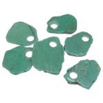 Natürliche Türkis Anhänger, grün, 32-52x55-68x5-6mm, Bohrung:ca. 12mm, 30PCs/Menge, verkauft von Menge