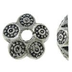 Zinklegierung Perlenkappe, Blume, antik silberfarben plattiert, frei von Nickel, Blei & Kadmium, 9x2mm, Bohrung:ca. 2mm, ca. 5000PCs/kg, verkauft von kg