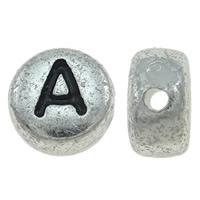 ABS-Kunststoff Alphabet Perlen, ABS Kunststoff, flache Runde, antik silberfarben plattiert, verschiedene Muster für Wahl & mit Brief Muster & Schwärzen, 7x4mm, Bohrung:ca. 1mm, ca. 3600PCs/Tasche, verkauft von Tasche