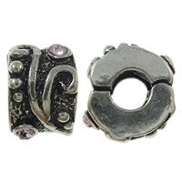 Zinklegierung European Verschluss, antik silberfarben plattiert, mit Strass, frei von Nickel, Blei & Kadmium, 10x6.5mm, Bohrung:ca. 3.5mm, 10PCs/Tasche, verkauft von Tasche