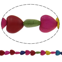 Türkis Perlen, Synthetische Türkis, Herz, gemischte Farben, 12x11.50x5.50mm, Bohrung:ca. 1.5mm, ca. 37PCs/Strang, verkauft per ca. 15 ZollInch Strang