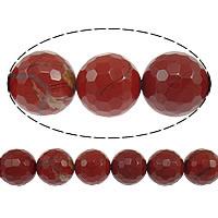 Roter Jaspis Perle, rund, facettierte, 12mm, Bohrung:ca. 1.2mm, Länge:ca. 16 ZollInch, 10SträngeStrang/Menge, ca. 34PCs/Strang, verkauft von Menge