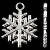 Zinklegierung Weihnachten Anhänger, Schneeflocke, silberfarben plattiert, frei von Nickel, Blei & Kadmium, 15x20x1.50mm, Bohrung:ca. 1.5mm, ca. 905/