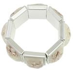 Muschel Armband, mit Harz & Verkupferter Kunststoff, Platinfarbe platiniert, keine, 24x24x14mm, verkauft per ca. 7.5 ZollInch Strang