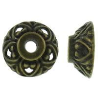 Zinklegierung Perlenkappe, antike Bronzefarbe plattiert, frei von Nickel, Blei & Kadmium, 9.5x4mm, Bohrung:ca. 1.5mm, ca. 3330PCs/kg, verkauft von kg