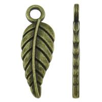 Zinklegierung Feder Anhänger, Federn, antike Bronzefarbe plattiert, frei von Nickel, Blei & Kadmium, 6.50x18.50x1.50mm, Bohrung:ca. 2mm, ca. 2000PCs/kg, verkauft von kg