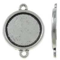 Zinklegierung Schmuckverbinder Einstellung, flache Runde, antik silberfarben plattiert, 1/1-Schleife, frei von Nickel, Blei & Kadmium, 18.50x25x2mm, Bohrung:ca. 1.5mm, ca. 660PCs/kg, verkauft von kg