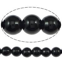 Natürliche schwarze Achat Perlen, Schwarzer Achat, rund, Klasse AB, 10mm, Bohrung:ca. 1.2mm, ca. 38PCs/Strang, verkauft per ca. 15.5 ZollInch Strang